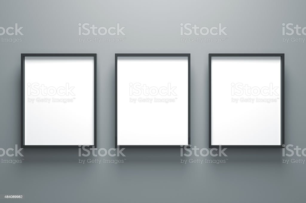 Three Plain Empty Picture Frame stock photo