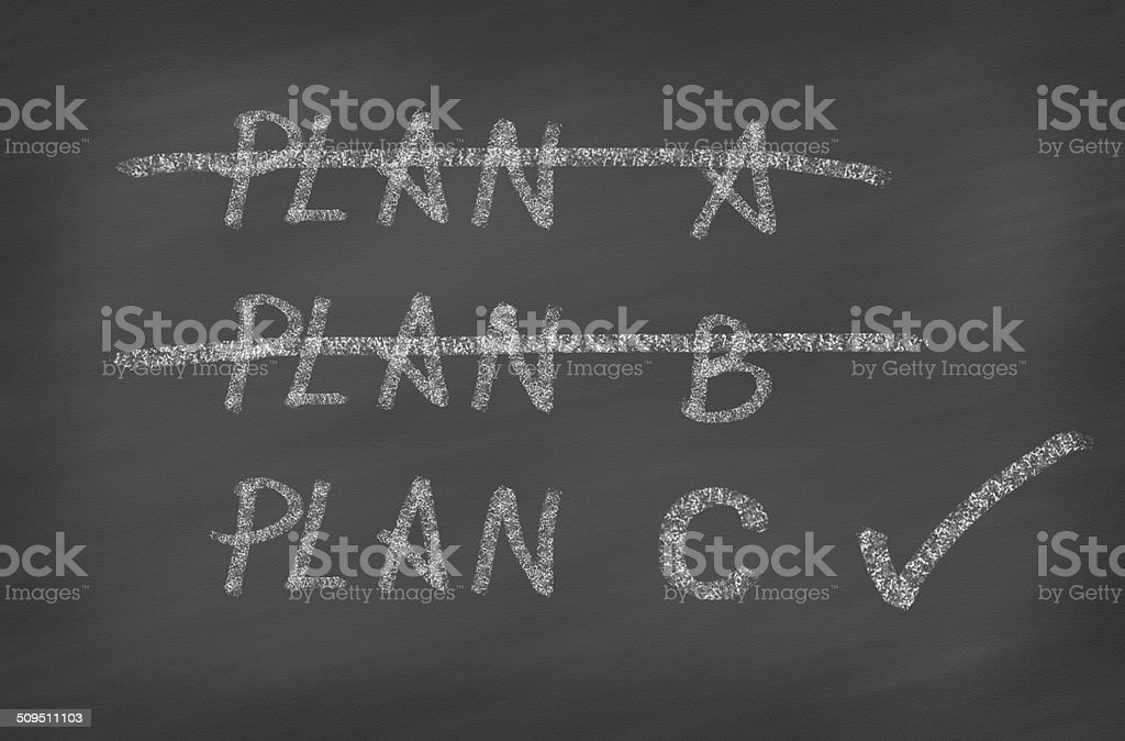 Three Plans ,concept for change of plan stock photo