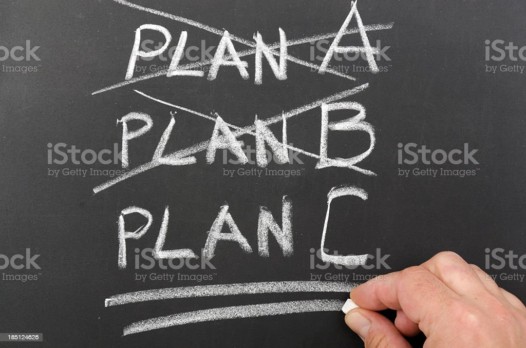 Three plans written on a chalkboard with two crossed out stock photo