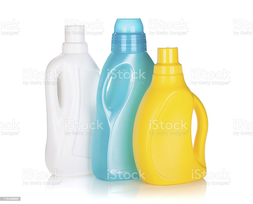 Three plastic bottles of cleaning product stock photo