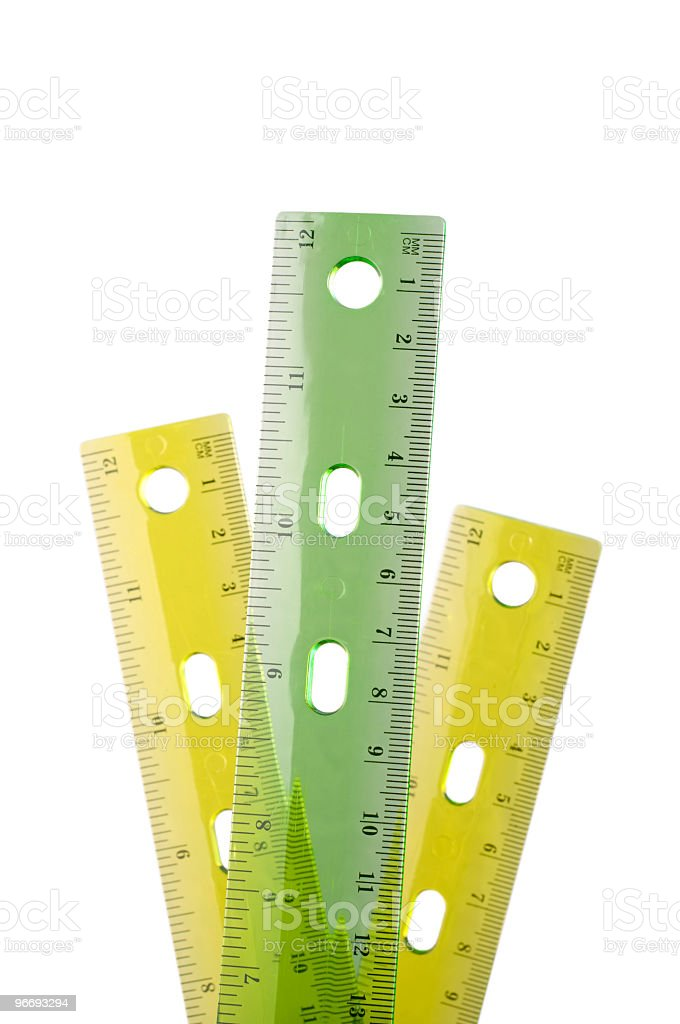 Three plastic rulers royalty-free stock photo