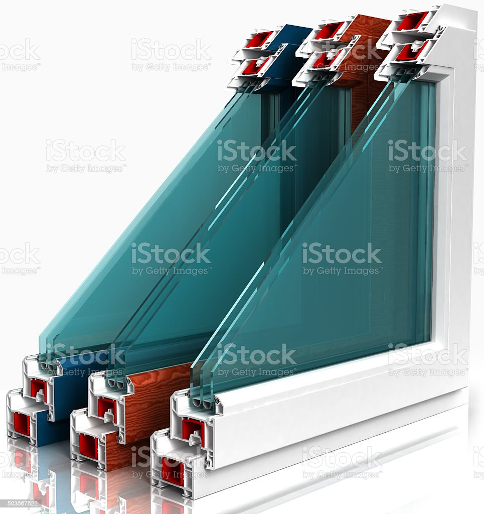 three plastic window with a colorful laminated isolated on white stock photo