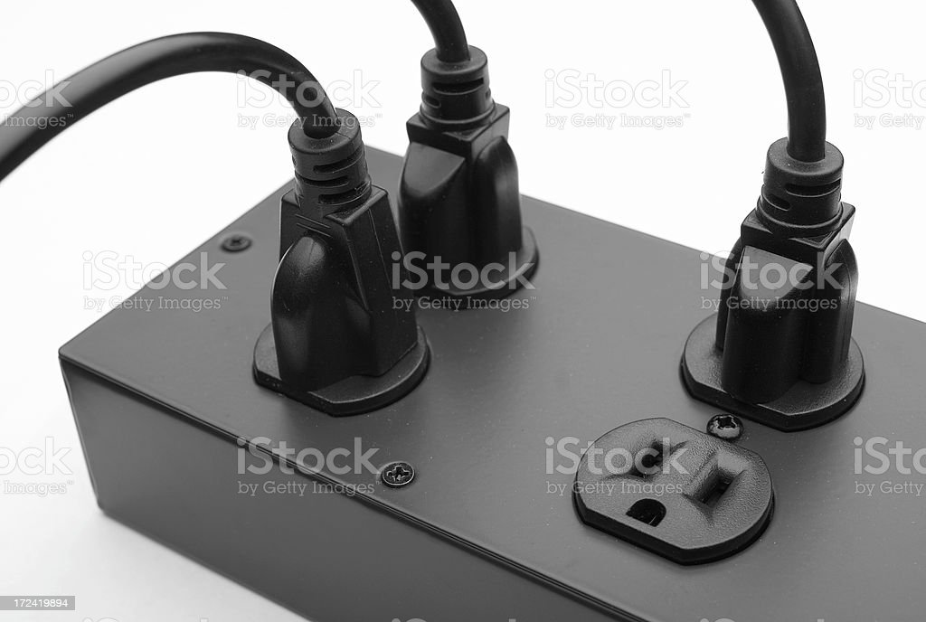 Three Plugs with Four Sockets stock photo