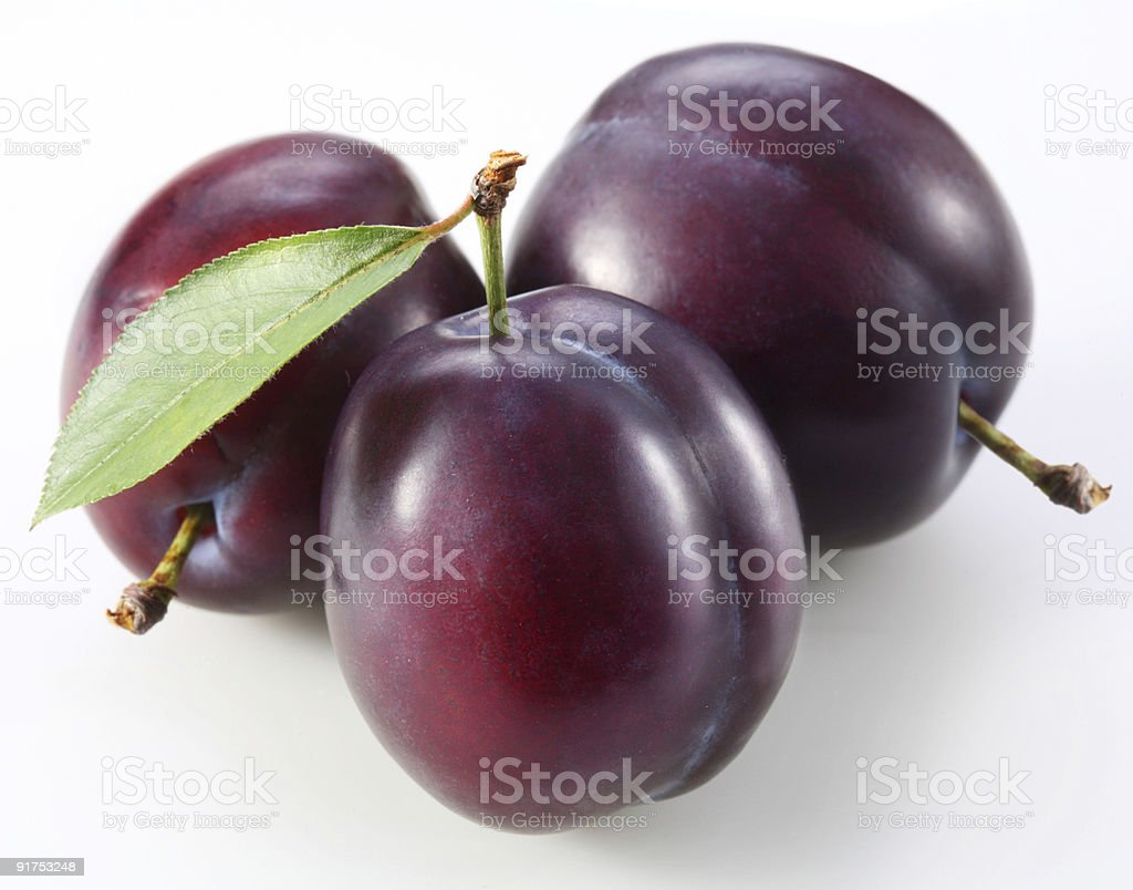 Three plums with a green leaf on a white background royalty-free stock photo