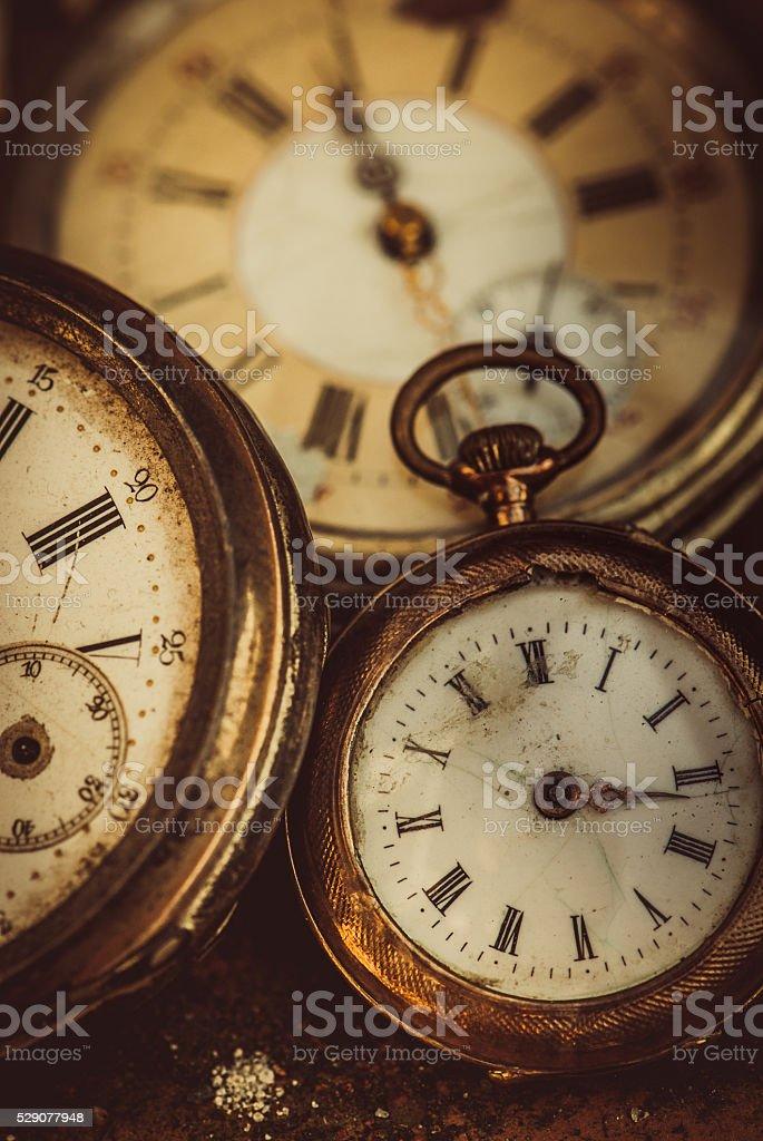 Three Pocket watches stock photo