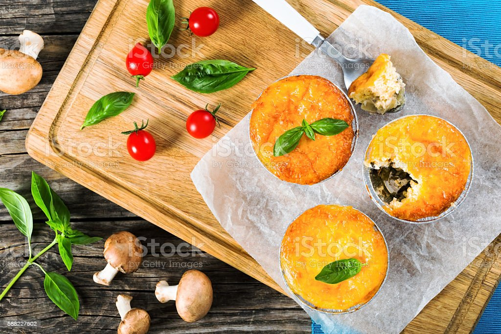 Three portions of French julienne, view from above stock photo