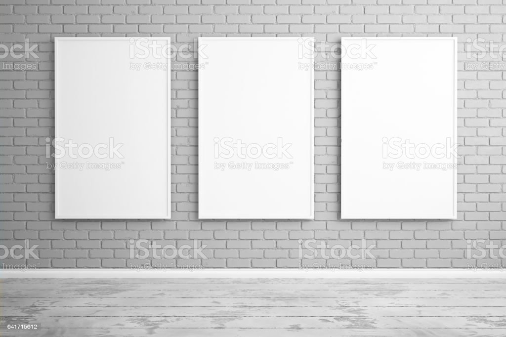 Three posters hanging on the wall in the interior. Mock up. 3d render