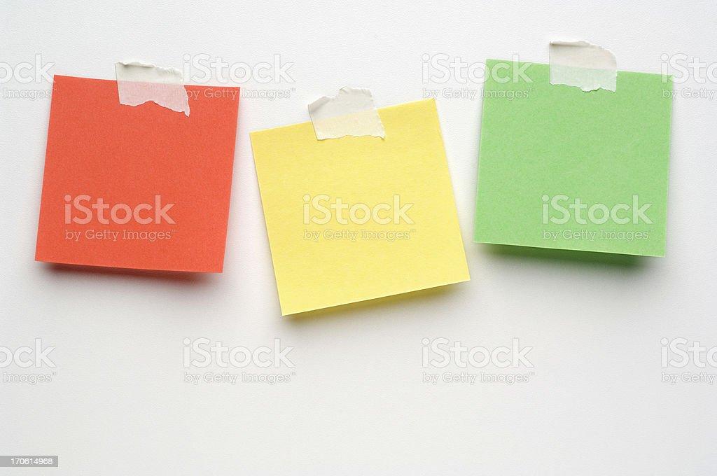 Three Post-it Notes on white royalty-free stock photo