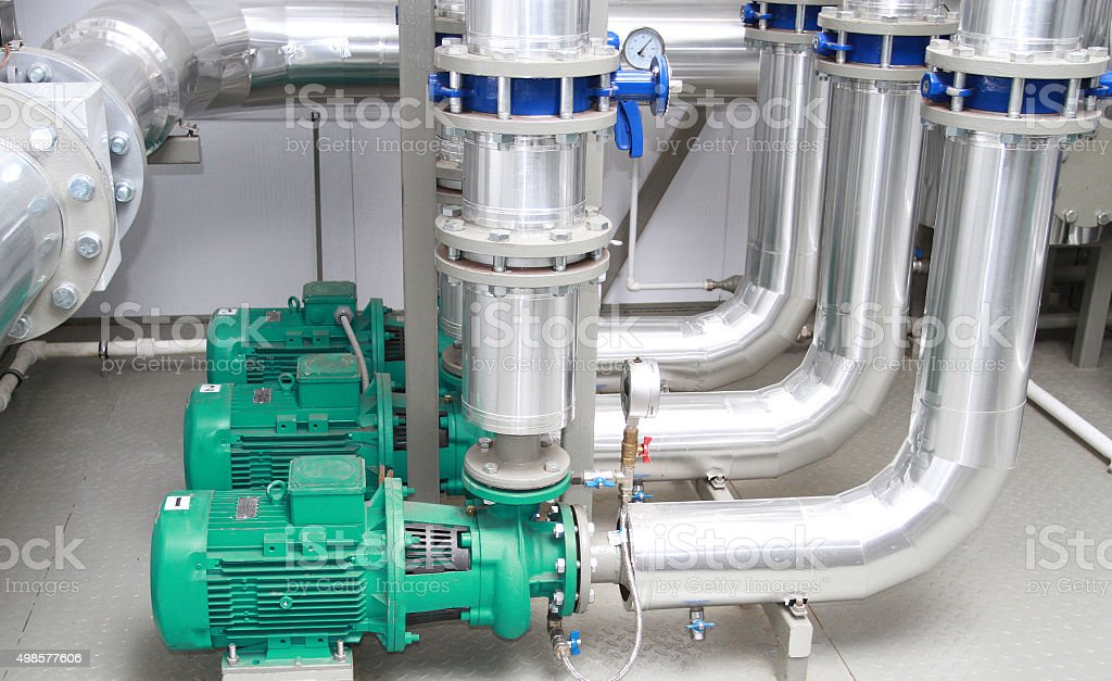 Three powerful pumps stock photo