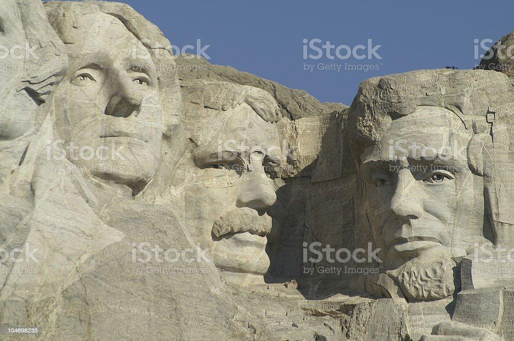 Three Presidents at Mount Rushmore National Memorial royalty-free stock photo