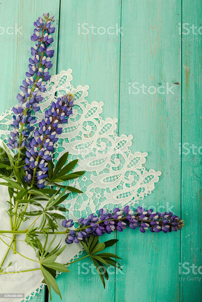 Three Pretty Purple Lupine Flowers On Old Green Wood stock photo