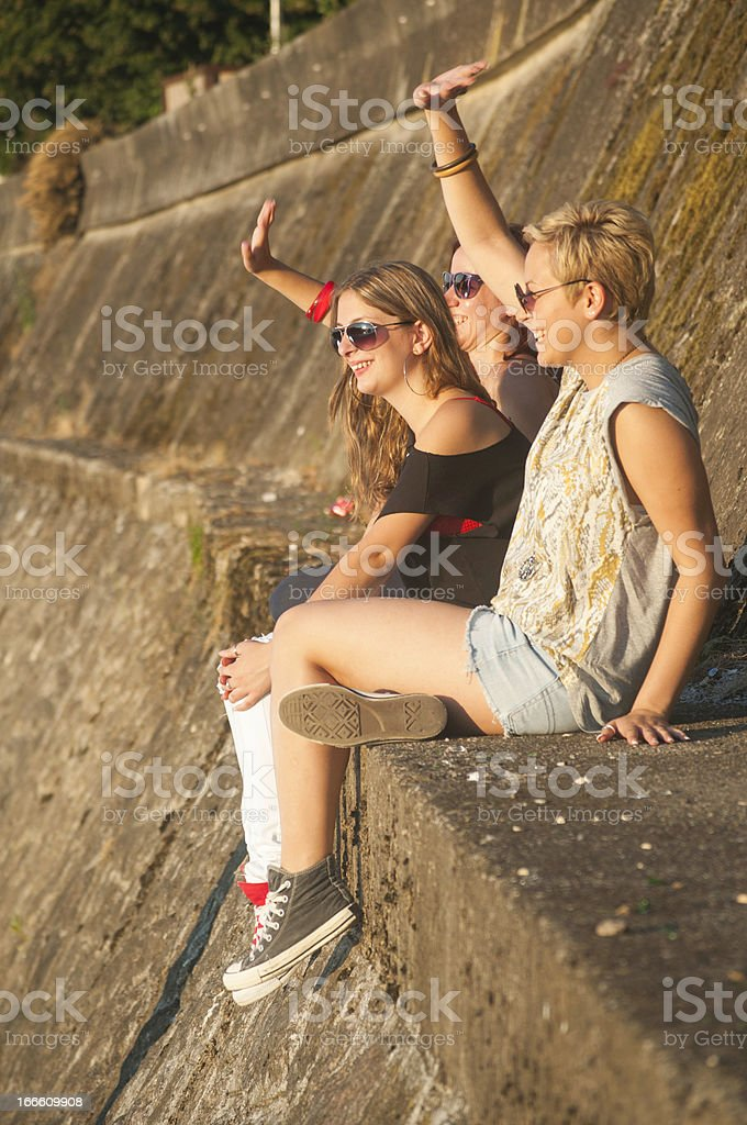 Three pretty young hipster girls royalty-free stock photo