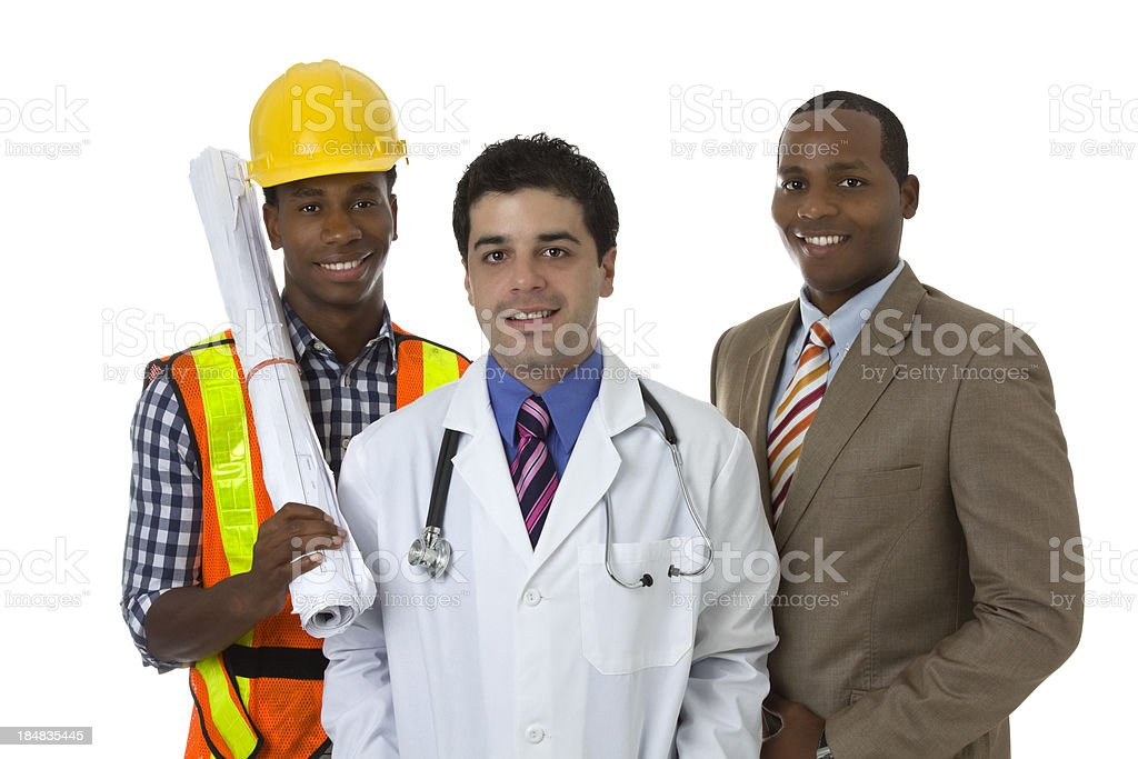 Three professional, a doctor, a businessman and a construction worker stock photo