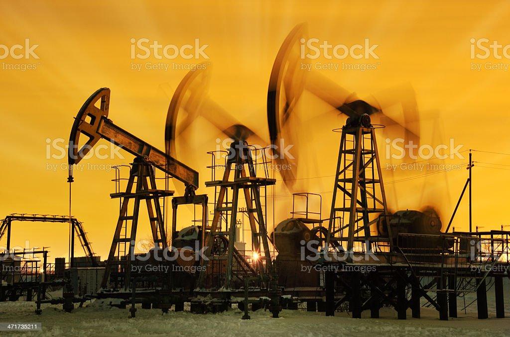 Three pump jacks. royalty-free stock photo