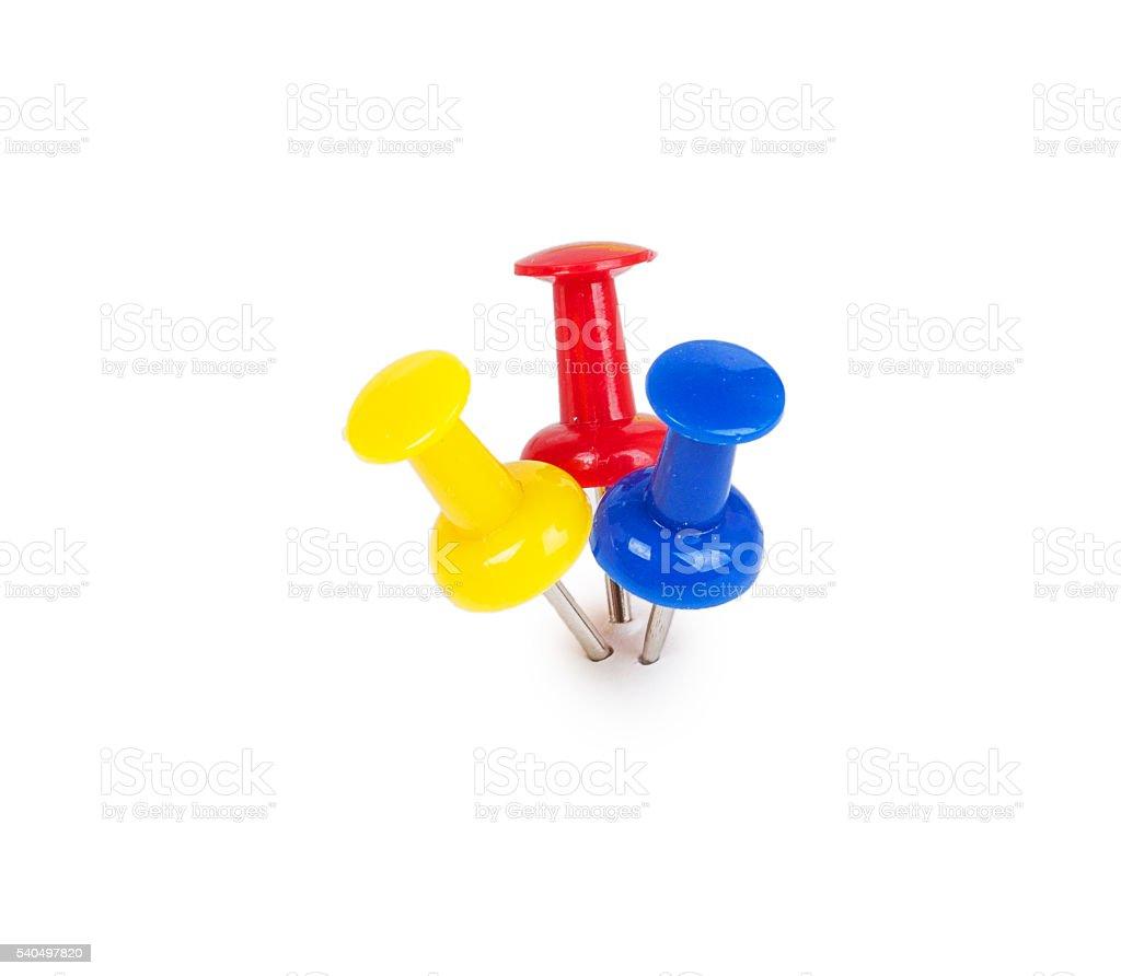 three push pins stock photo