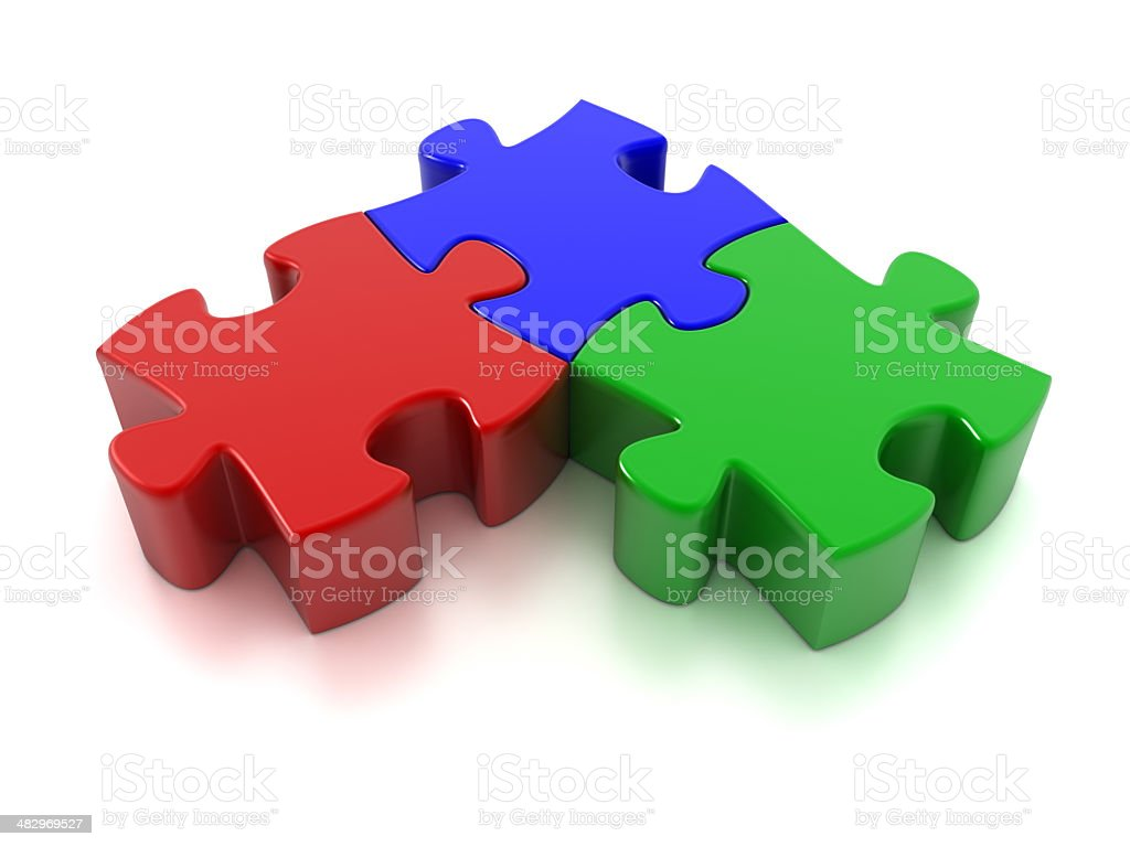 Three Puzzle pieces (Clipping Path included) stock photo