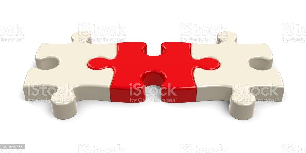 Three puzzle pieces stock photo