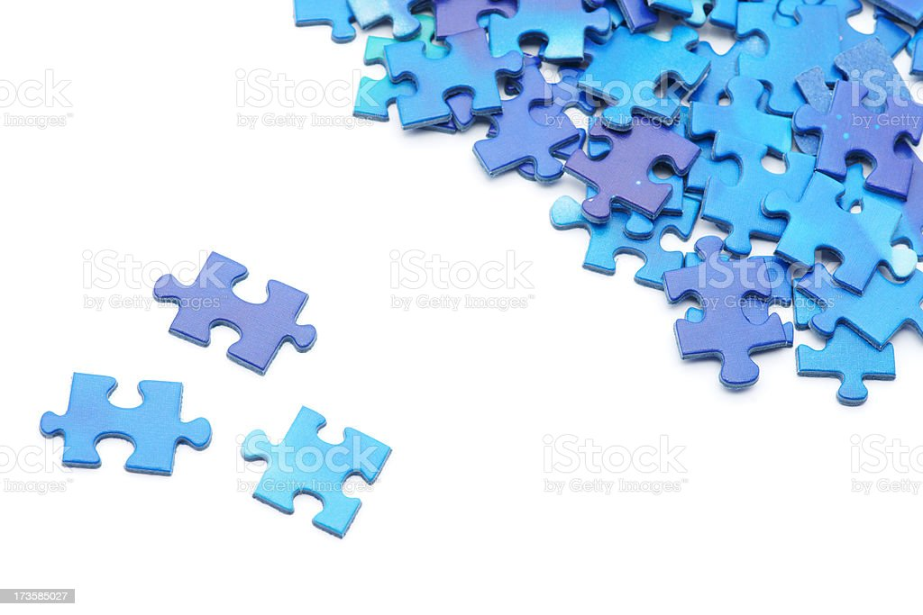 Three puzzle pieces seaprated from the group royalty-free stock photo