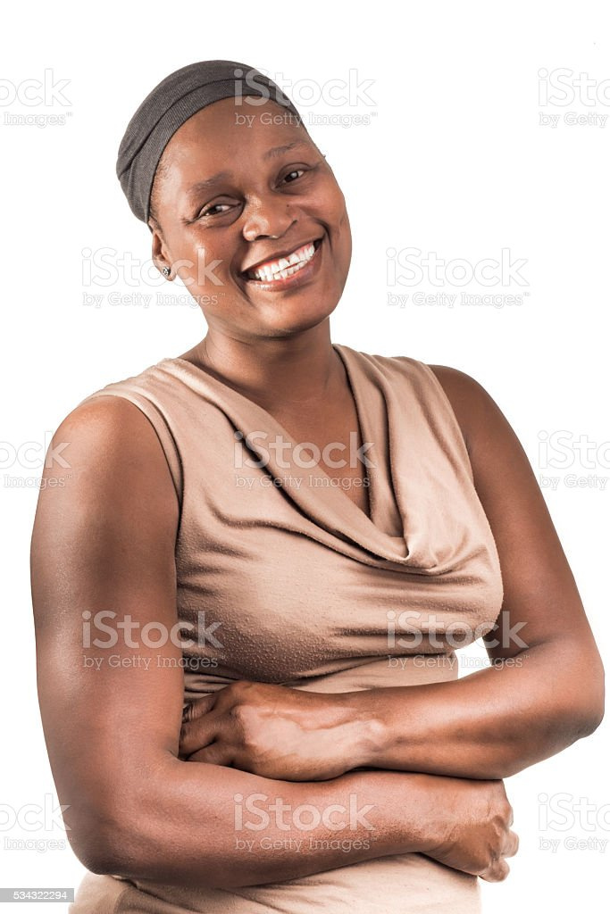 Three Quarter Portrait of African Lady on White. stock photo