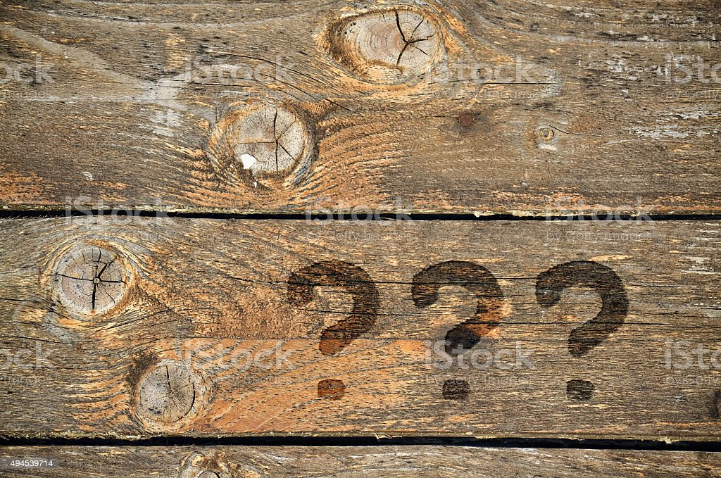 Three question marks stock photo
