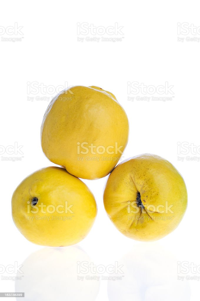 Three Quince Isolated on White stock photo
