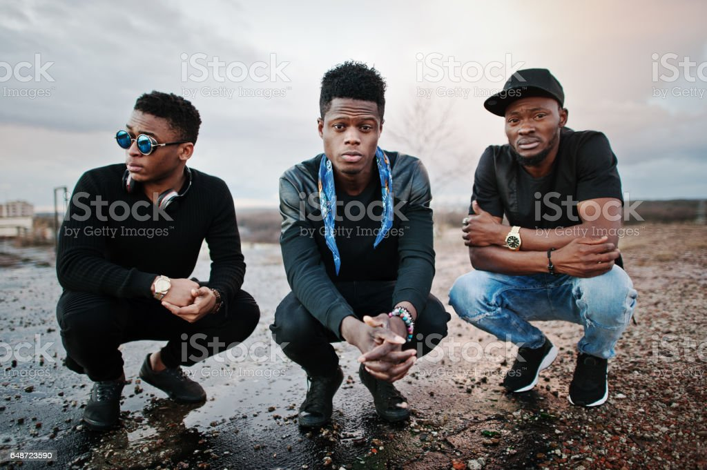 Three rap singers band on the roof stock photo