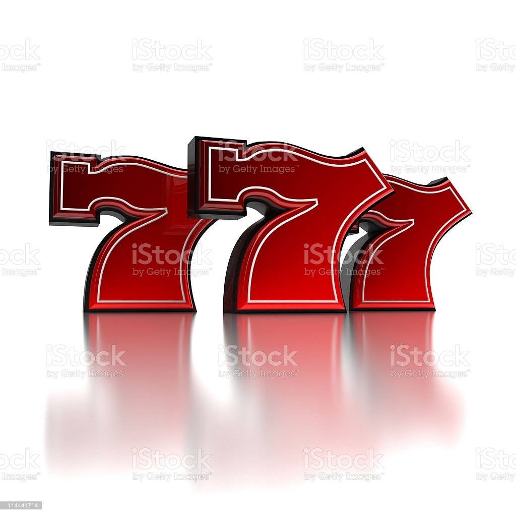 Three red and white icons of the number 7 with reflection stock photo