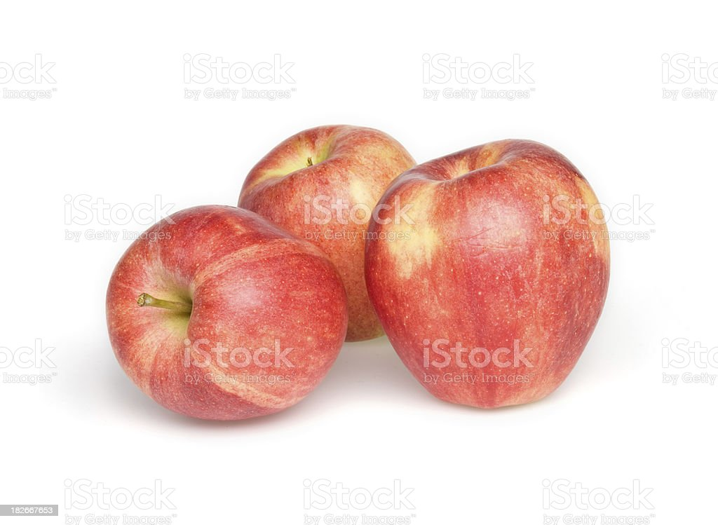 Three red apples isolated on white background stock photo