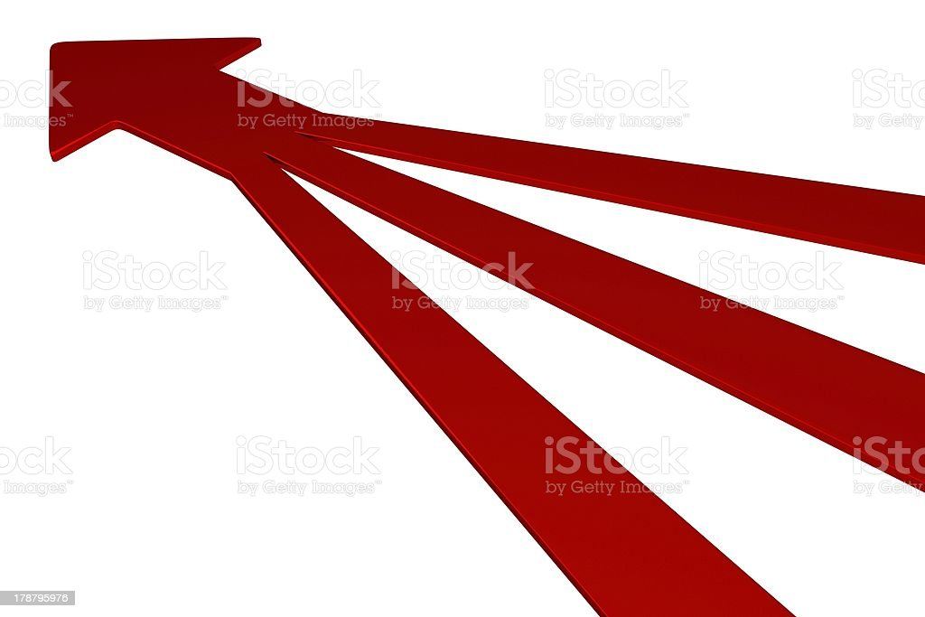 Three red arrows join to form one on a white background royalty-free stock photo