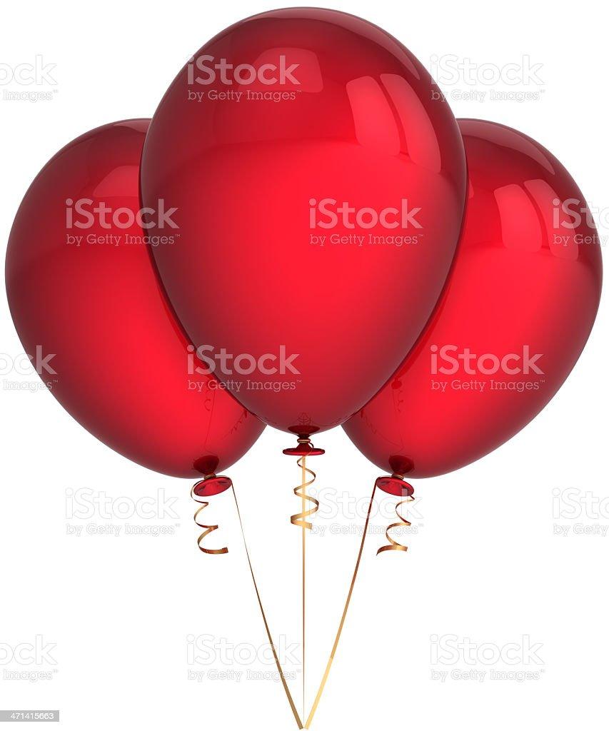 Three red balloons birthday party blank decoration royalty-free stock photo
