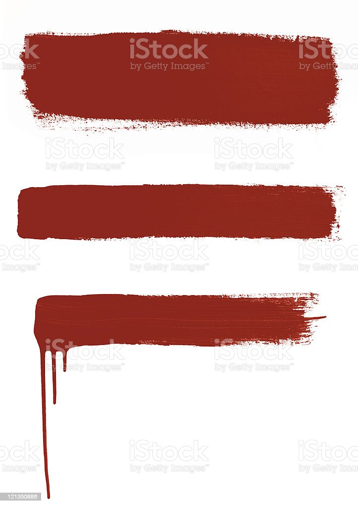 Three Red Brush Strokes stock photo