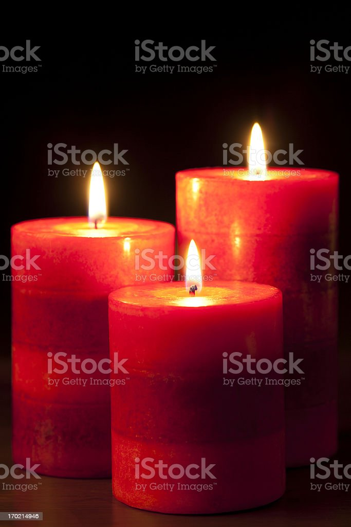 Three Red Candles royalty-free stock photo