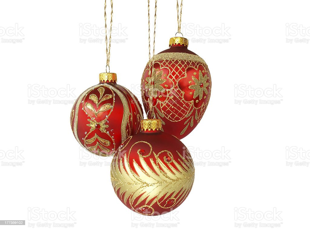 Three Red  Christmas Balls royalty-free stock photo