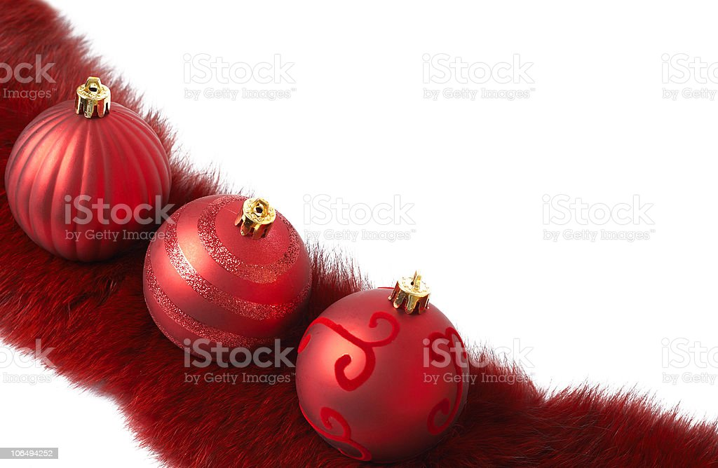 Three red Christmas baubles stock photo