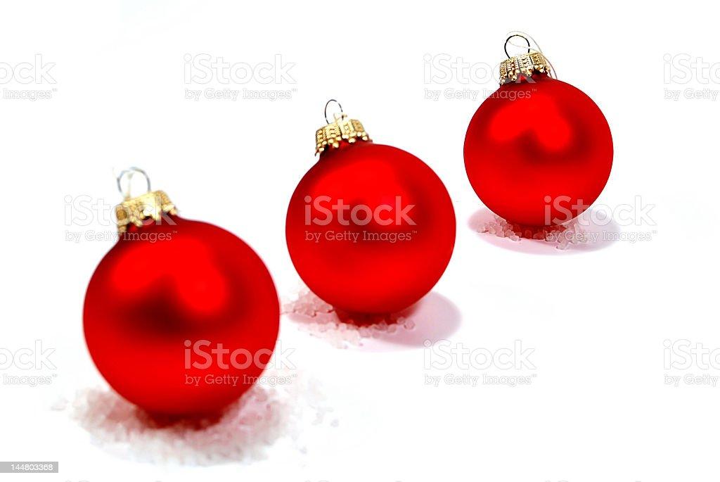 Trois rouge décorations de Noël photo libre de droits