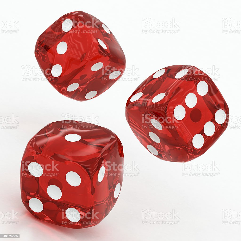 three red dices falling stock photo