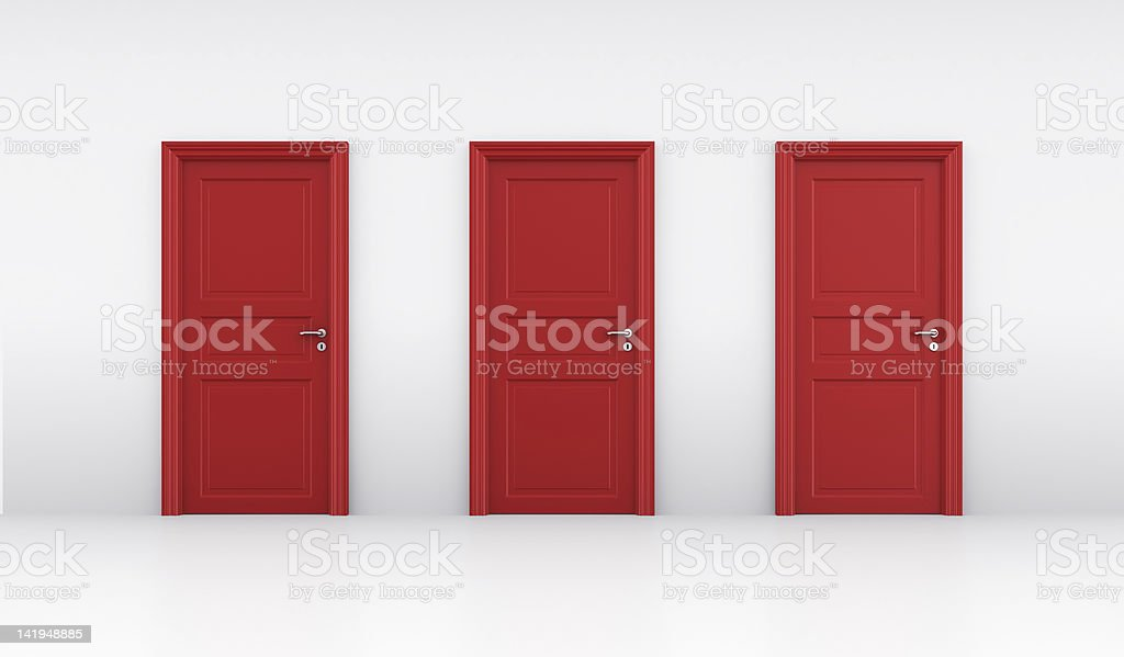 Three red doors stock photo