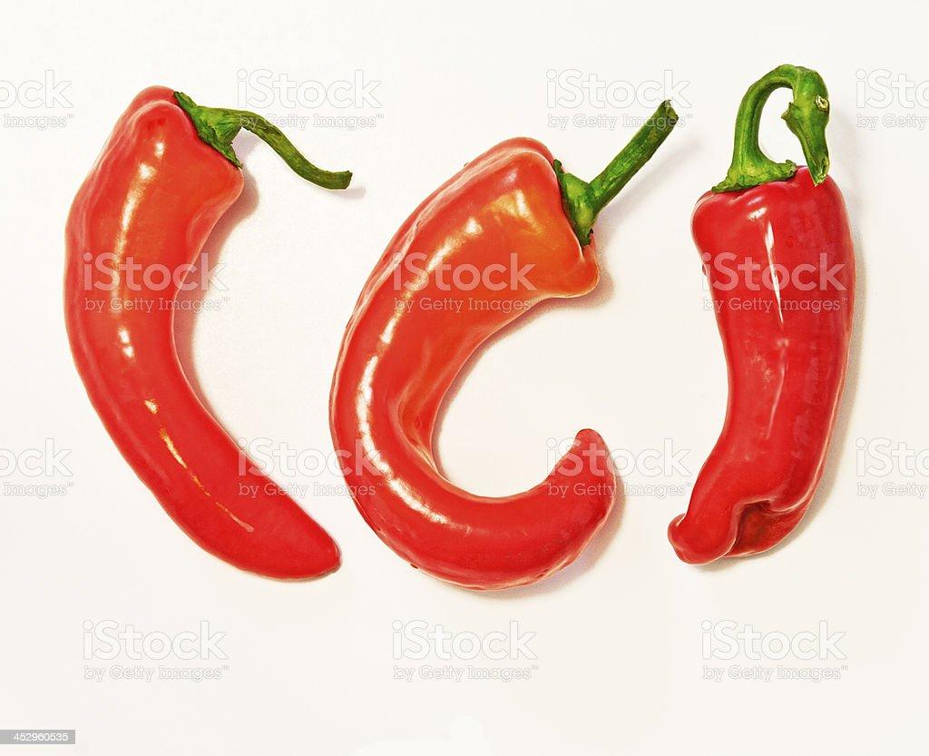 Three red jalapeno royalty-free stock photo
