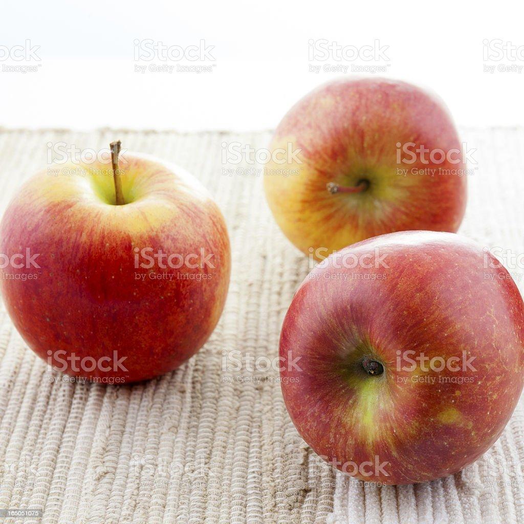 Three Red Kiku Apples royalty-free stock photo