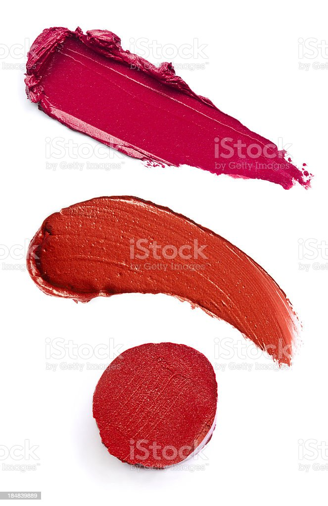 Three red lipstick smeared royalty-free stock photo