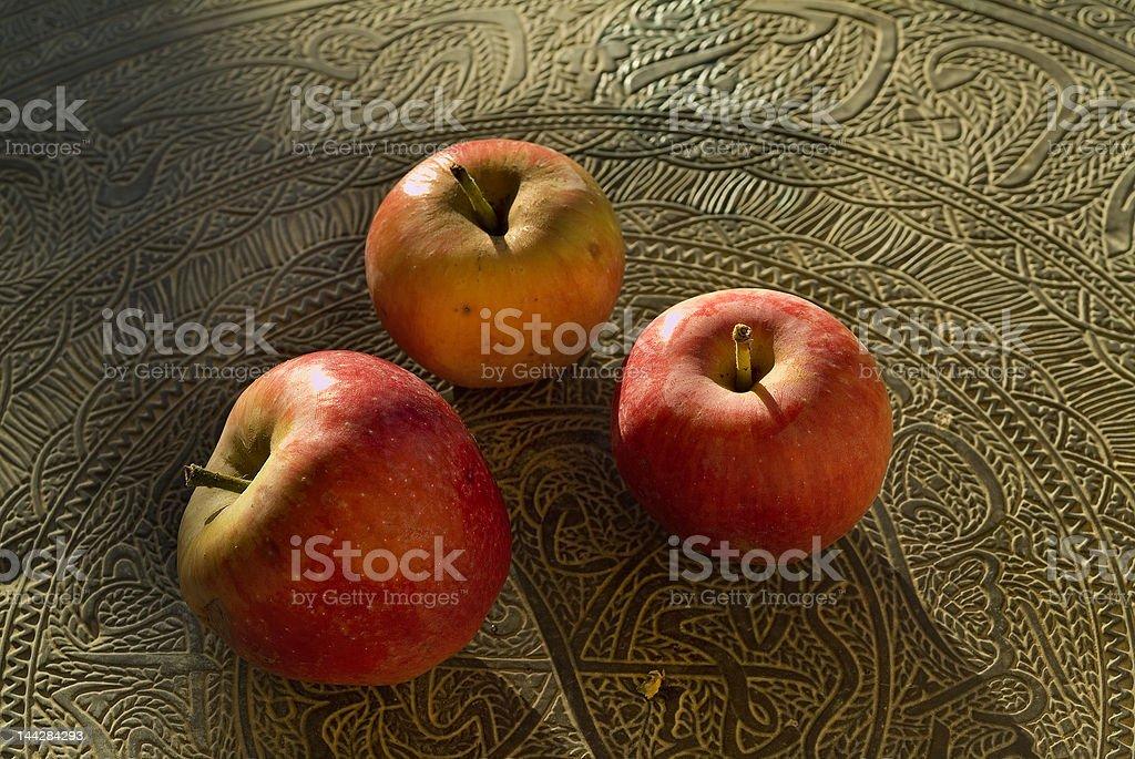 three red organic apples royalty-free stock photo
