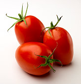 Three Red Roma Tomatoes