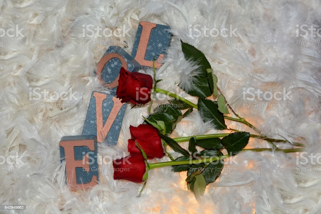 Three red roses   with Love to stones stock photo