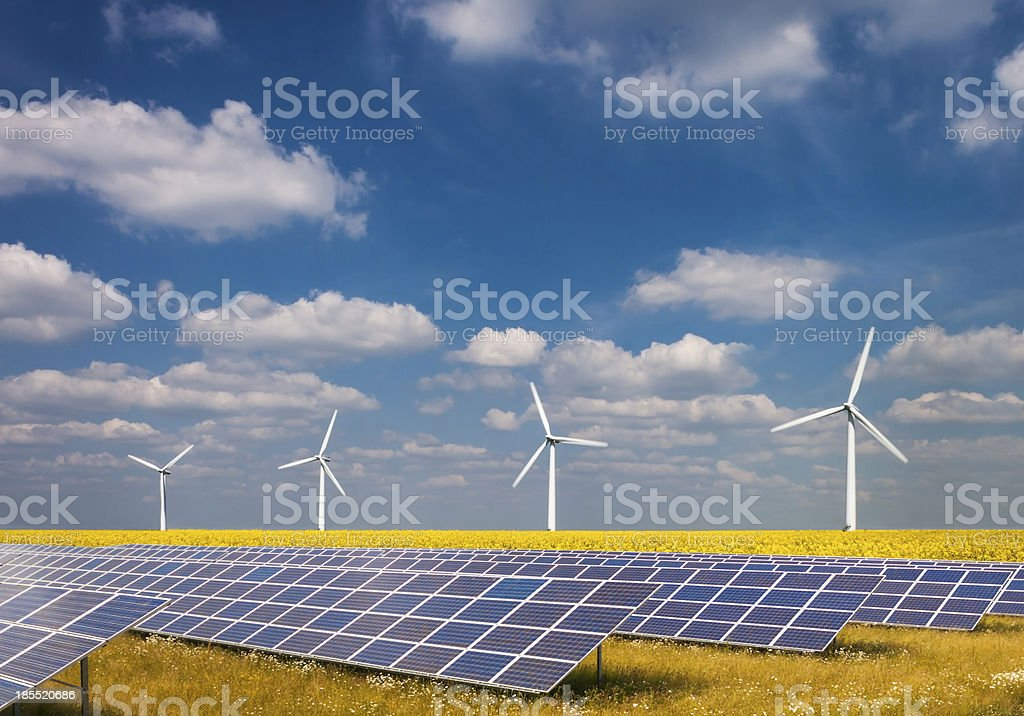 Three renewable energy sources stock photo
