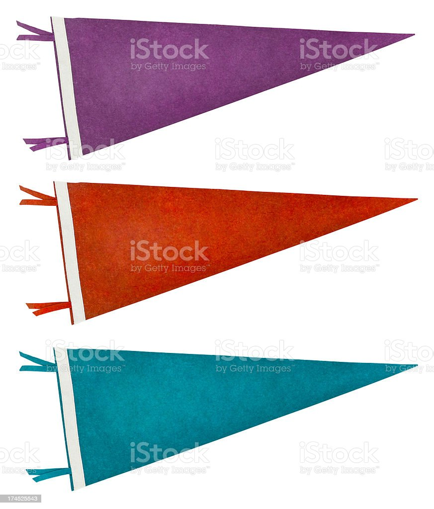 Three Retro Pennants (Isolated on White) stock photo