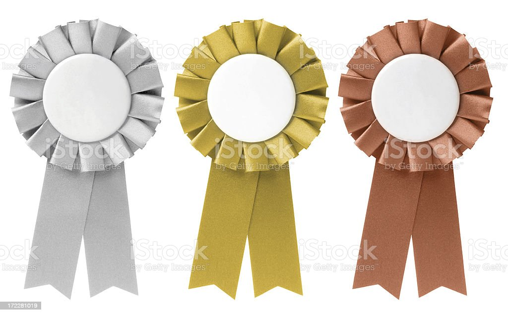 Three ribbon awards in silver, gold, and bronze stock photo