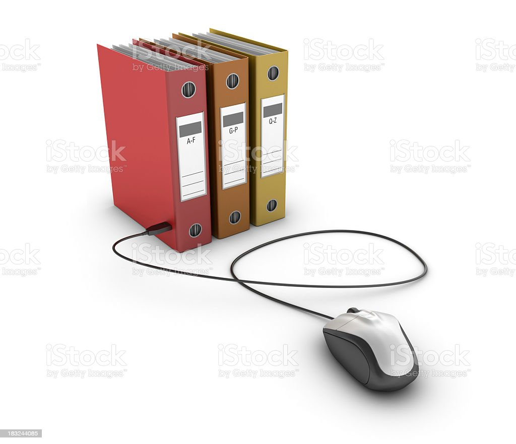 Three ring binders and a corded computer mouse royalty-free stock photo
