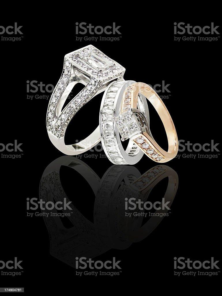 three rings on blackbackground stock photo