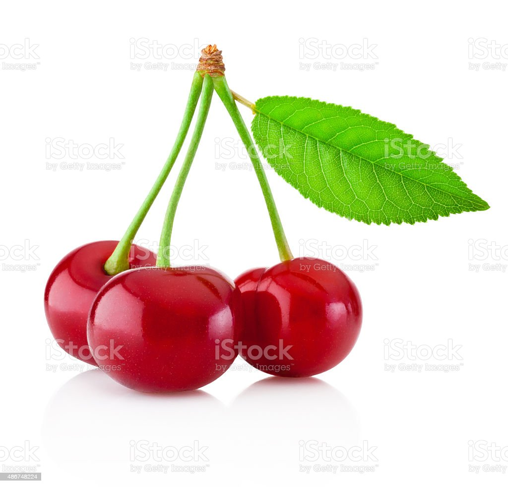 Three ripe cherries with leaf isolated on white background stock photo