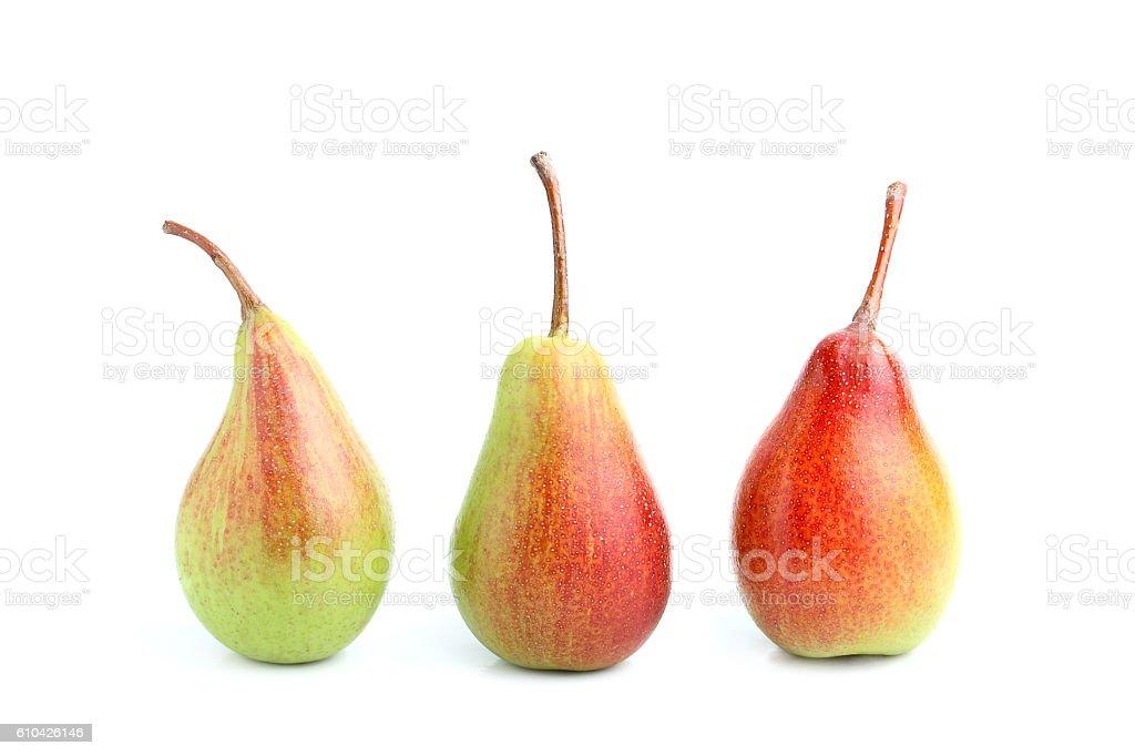 Three ripe pears isolated. stock photo